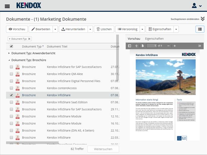 Kendox InfoShare Oberfläche